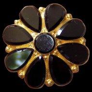 Antique Black Gilt Victorian Brooch Mourning