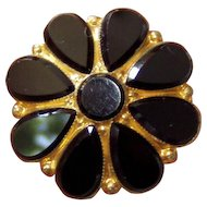 Antique Black Gilt Victorian Brooch Mourning