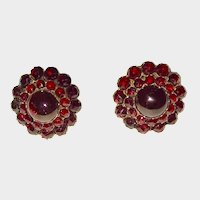 Victorian Era Bohemian Garnet Cluster Carbuncle Earrings