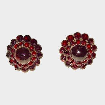 Victorian Era Bohemian Garnet Cluster Carbuncle Earrings