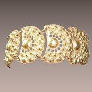 Bold 1980's Wide Heavy Gold Tone Bracelet