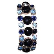 Vintage Glass Blue Cabochons Rhinestones Bracelet