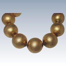 Vintage 80s Bold Gilt Sterling Beads Bracelet