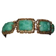 Vintage Green Peking Glass Bracelet