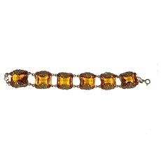 1930s Golden Glass and Brass Bracelet