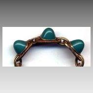 Large Green Glass Bullet Stone Bracelet