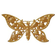 Giant Butterfly Golden Brooch