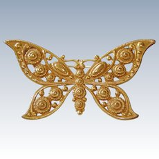 Giant Butterfly Golden Brooch