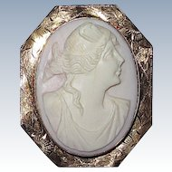 Gorgeous Conch Shell Pink Cameo in Gold Frame