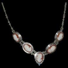 Vintage 800 Silver Cameo Necklace