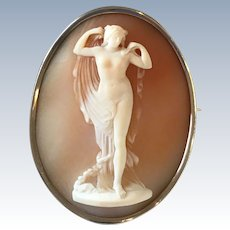 Aphrodite Masterpiece Carved Shell Antique Brooch