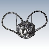 Art Nouveau Belt Buckle Silver Plated