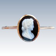 Fine Cameo Victorian Hardstone Onyx 14K Rose Gold Brooch Signed