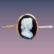 Fine Cameo Victorian Hardstone Onyx 14K Rose Gold Brooch Signed