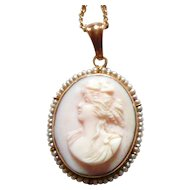 Beautiful Pink Shell Cameo with Pearls