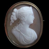 Victorian Goddess Carved Shell Cameo Beautiful