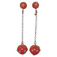 Art Deco Celluloid Red Drop Earrings