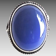 Sterling Vintage Blue Chalcedony Ring