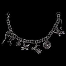Vintage Silver Charm Bracelet Mom of Sports Family