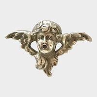 Antique Sterling Putti Angel Winged Cherub Art Nouveau Repousse Brooch Pin