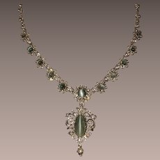 Victorian Cat's Eye Chrysoberyl Cultured Seed Pearls Sterling Silver Necklace Pendant