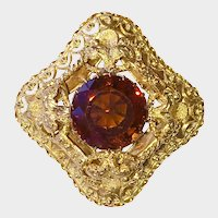 Victorian Madeira Citrine 14K Gold Etruscan Brooch
