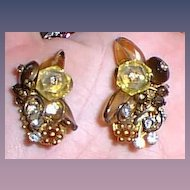 Wired Vintage Clip Earrings Yellows Browns Designer