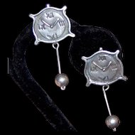 Ella Cone Signed Sterling Clock Clip Earrings