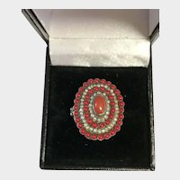 Vintage Austro-Hungarian Red Coral and Cultured Pearls Ring