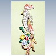 Bird of Paradise Pin Large Enamel Pastel Colors