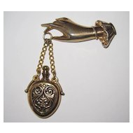 Excellent Vintage Coro Hand Holding Perfume Brooch