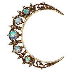 Vintage 14K Gold Opals Crescent Moon Pin Brooch