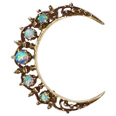 Vintage 14K Gold Opals Crescent Moon Pin Brooch