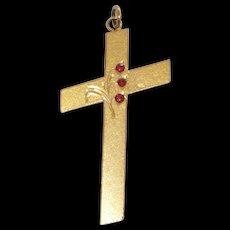 Vintage Large Garnet Cross Gold Filled