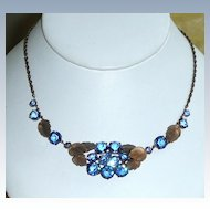 Vintage Blue Crystals Necklace