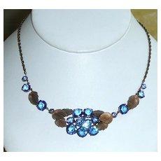 Vintage Blue Crystals Necklace