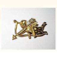 Goldtone Cupid Pin Diamond Arrows