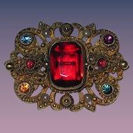 Vintage Czech Brooch Red