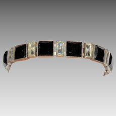 Art Deco Czechoslovakia Black Glass Bracelet