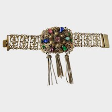 Vintage Czechoslovakian Vibrant Rhinestone Bracelet