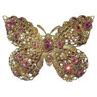Vintage Czechoslovakia Pink Rhinestone Butterfly Brooch