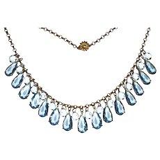 Vintage Gorgeous Czechoslovakian Aqua Crystal Fringe Necklace and Bracelet