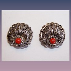 Art Deco Coral and Marcasite Seashell Motif Earrings