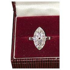Art Deco 14K White Gold Diamonds Navette Shaped Ring