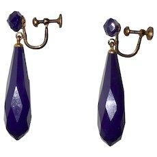 Art Deco Deep Purple Drop Earrings