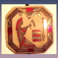 Art Deco Egyptian Motif Celluloid Pendant