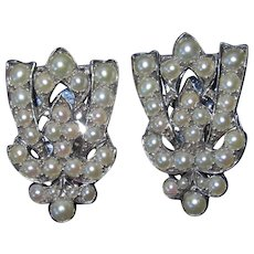10K White Gold Art Deco Split Pearls Dress Clips Pair
