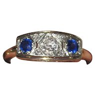Art Deco 14K Diamond Sapphire Ring Estate