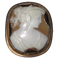 Fine Carved Shell Cameo Demeter