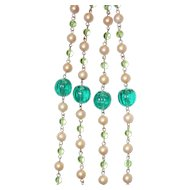 Set Long Beads and Earrings Must See Green